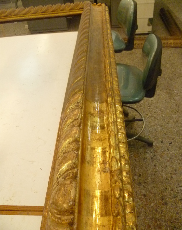 During cleaning treatments of the gilded decorative frame.