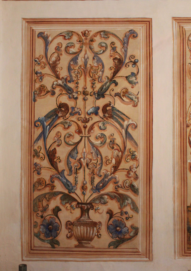 Detail of the wall paintings after conservation and restoration treatments.