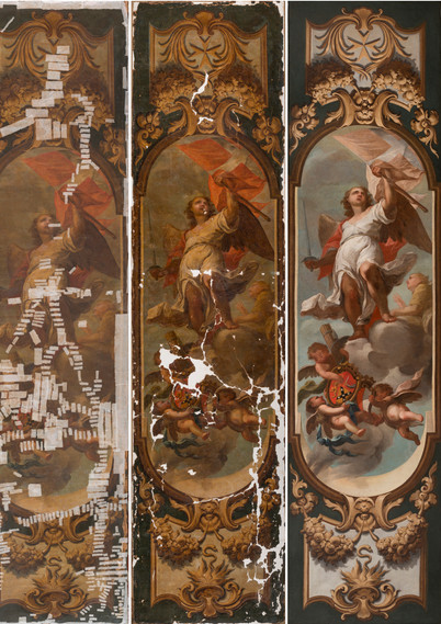 General photographs showing the conservation and restoration of the painting representing an 'Allegory of the Order of St. John' located within the Chapel of Saint Calcedonius, Casa Manresa - The Archbishop's Curia in Floriana. (Photo credit: Mr. Manuel Ciantar and Ms. Suzanne Ciantar Ferrito).