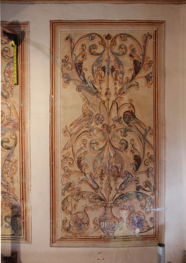 Detail showing the condition before conservation and restoration treatments.