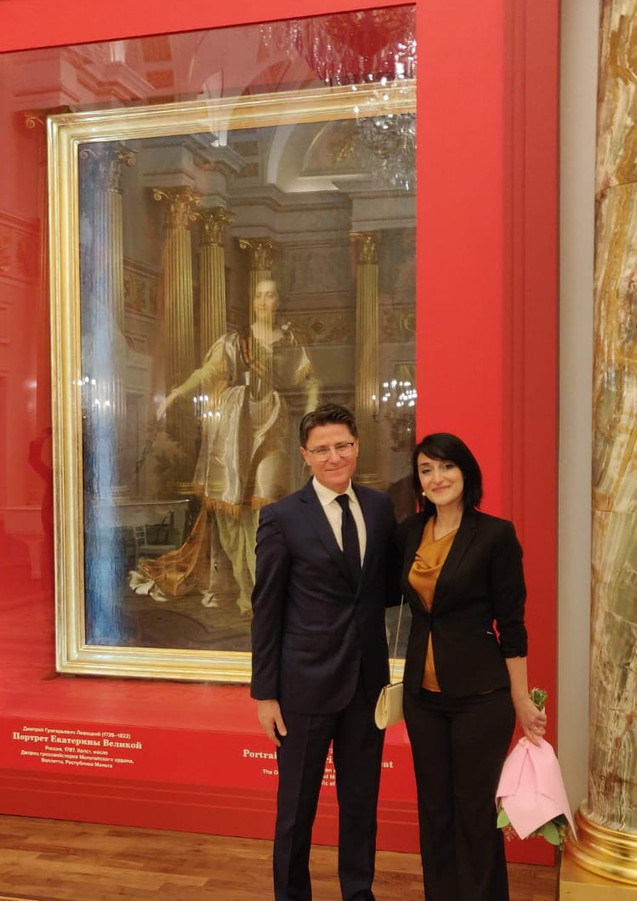 Honorable Ambassador Pierre Clive Agius and Fine Arts Conservator-Restorer Amy Sciberras. Photograph taken during the inauguration of the restored painting of Catherine the Great, exhibited at the Tsaritsyno Museum in Moscow.
