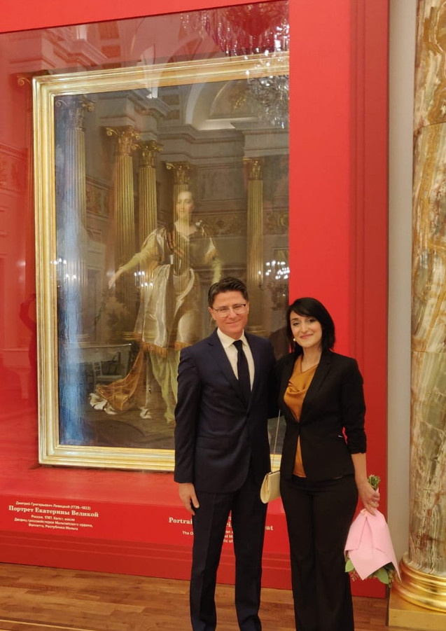 Honorable Ambassador PierreCliveAgius and Fine Arts Conservator-Restorer Amy Sciberras. Photograph taken during the inauguration of the restored painting of Catherine the Great, exhibited at the Tsaritsyno Museum in Moscow.