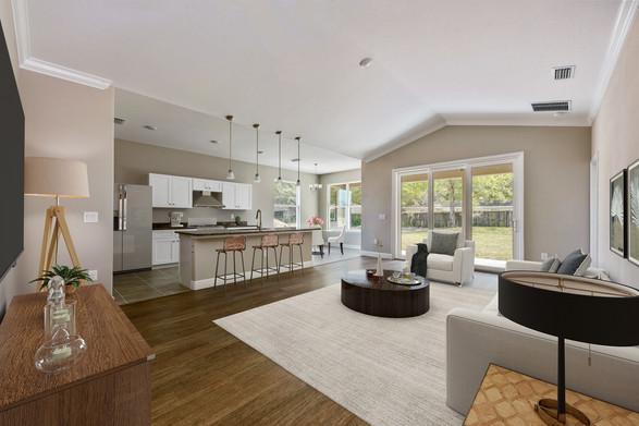 Living Room and Kitchen - Willow Oak Floor Plan - Eleven Oaks