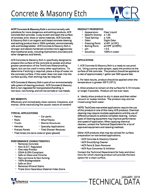 Concrete & Masonry Etch Technical Data Sheet (QTY: 50)