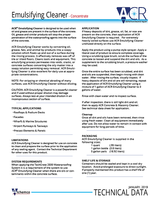 Emulsifying Cleaner Technical Data Sheet (QTY: 50)