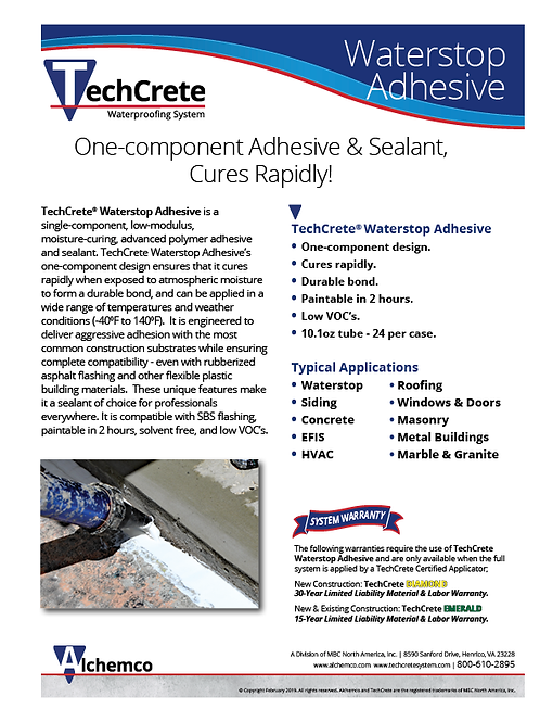 Waterstop Adhesive Sell Sheet
