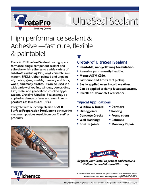 UltraSeal Sealant Sell Sheet (QTY: 50)