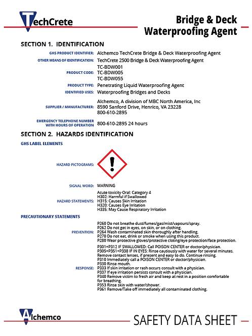 Bridge Deck Protectant Safety Data Sheet (QTY: 10)