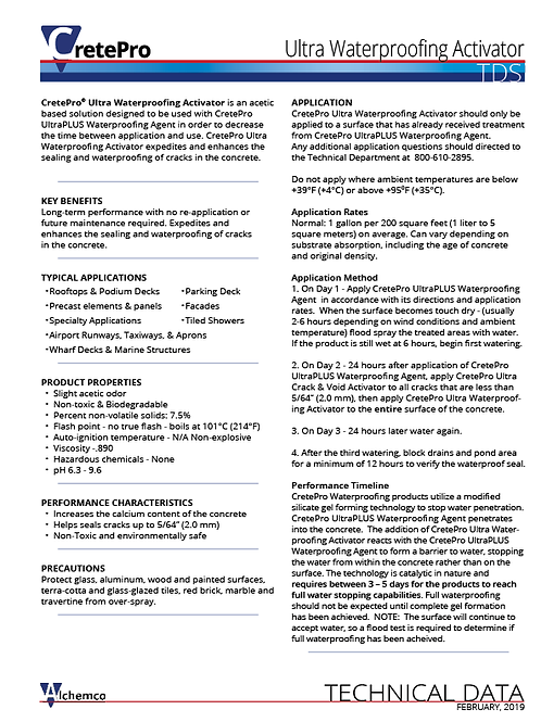 Ultra Activator Technical Data Sheet (QTY: 50)