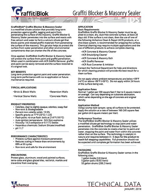 Masonry Graffiti Blocker Technical Data Sheet (QTY: 50)