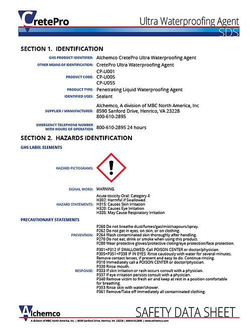 Ultra Waterproofing Agent Safety Data Sheet (QTY: 10)