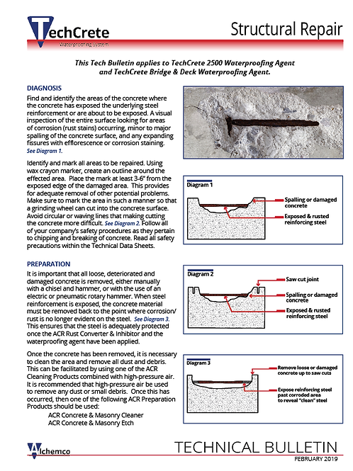 TechCrete Structural Repair Technical Bulletin (QTY: 25)