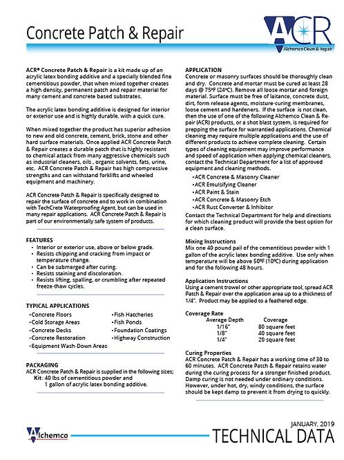 Concrete Patch & Repair Technical Data Sheet (QTY: 50)