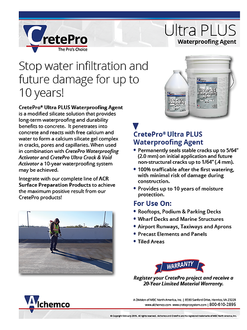 UltraPLUS Waterproofing Agent Sell Sheet (QTY: 50)
