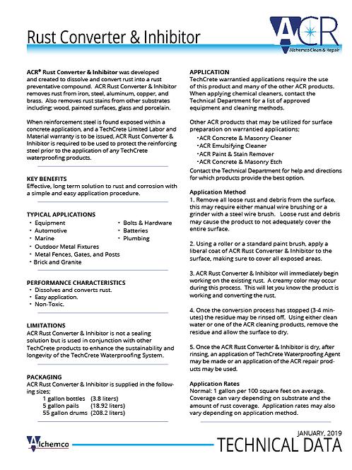 Rust Converter & Inhibitor Technical Data Sheet (QTY: 50)