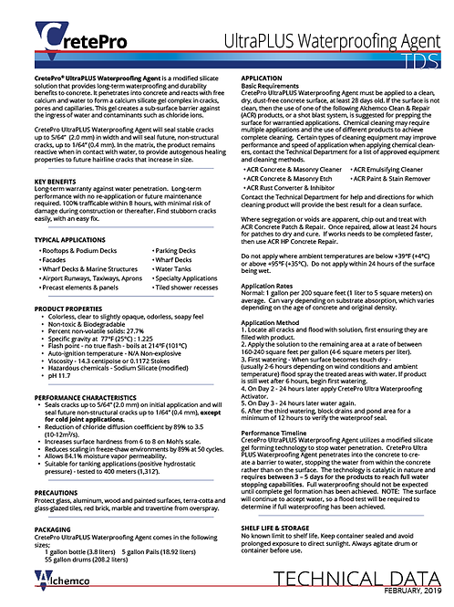 UltraPLUS Waterproofing Agent Technical Data Sheet (QTY: 50)