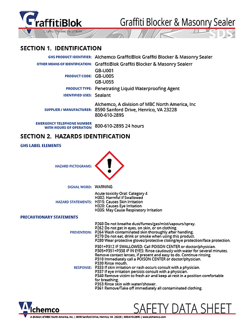 Masonry Graffiti Blocker Safety Data Sheet (QTY: 10)
