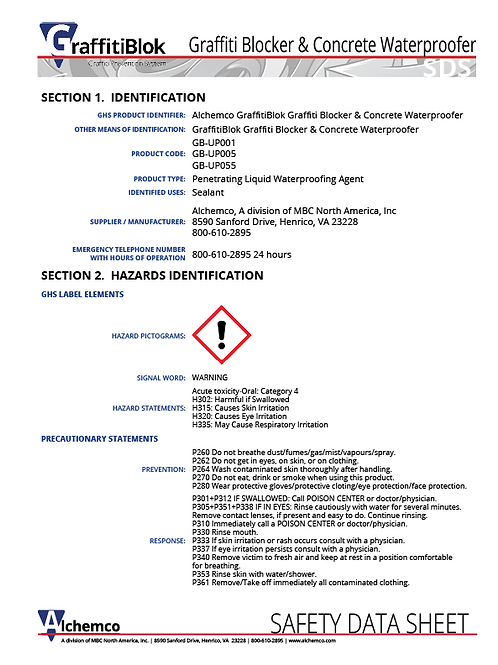 Concrete Graffiti Blocker Safety Data Sheet (QTY: 10)