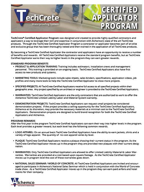 TechCrete Certified Applicator Program (QTY: 50)