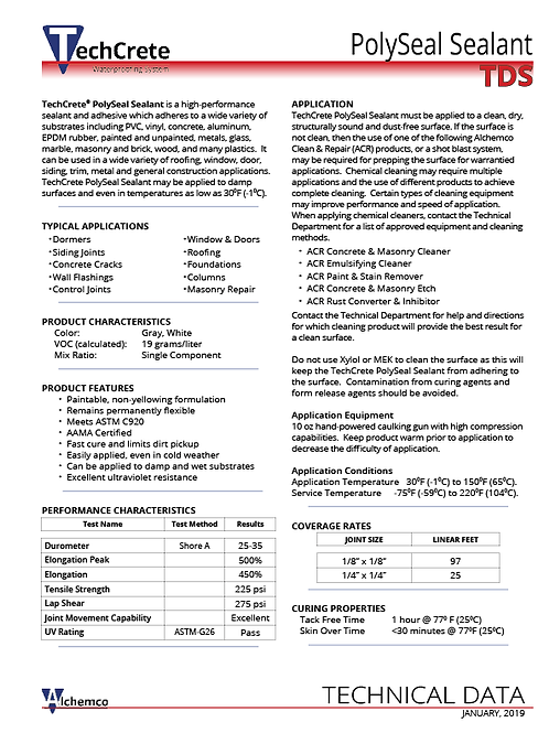 PolySeal Sealant Technical Data Sheet (QTY: 50)