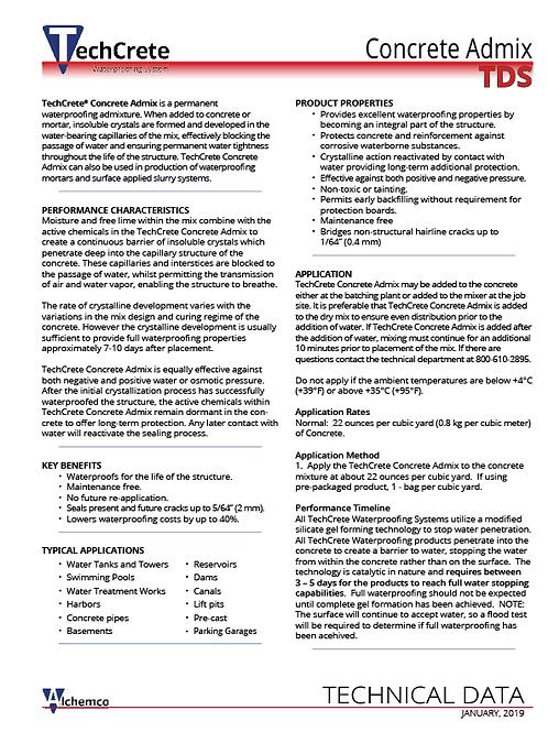 Concrete Admix Technical Data Sheet