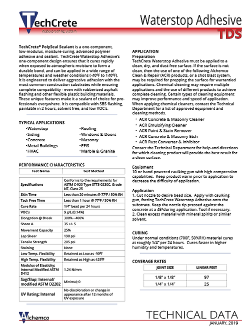 Waterstop Adhesive Technical Data Sheet (QTY: 50)