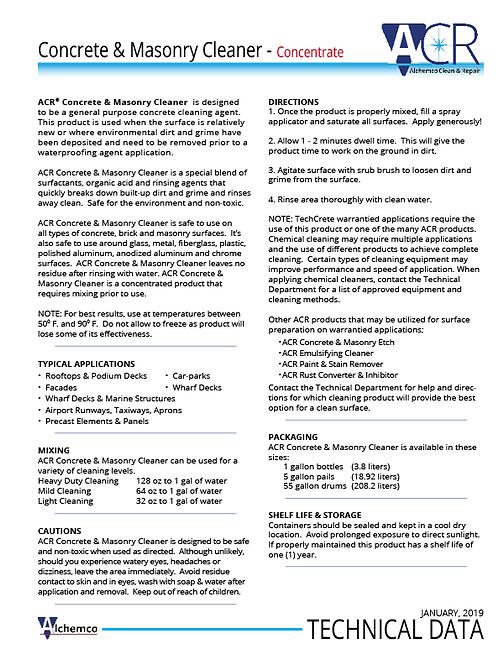 Concrete & Masonry Cleaner Technical Data Sheet (QTY: 50)