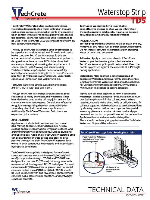 Waterstop Strip Technical Data Sheet (QTY: 50)