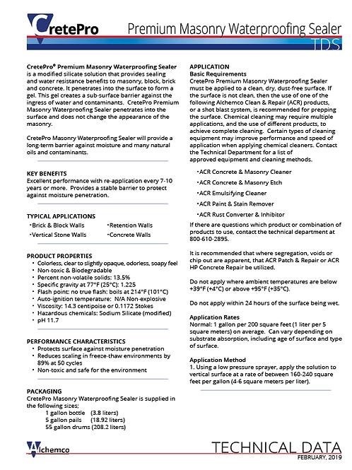 Ultra Masonry Sealer Technical Data Sheet (QTY: 50)