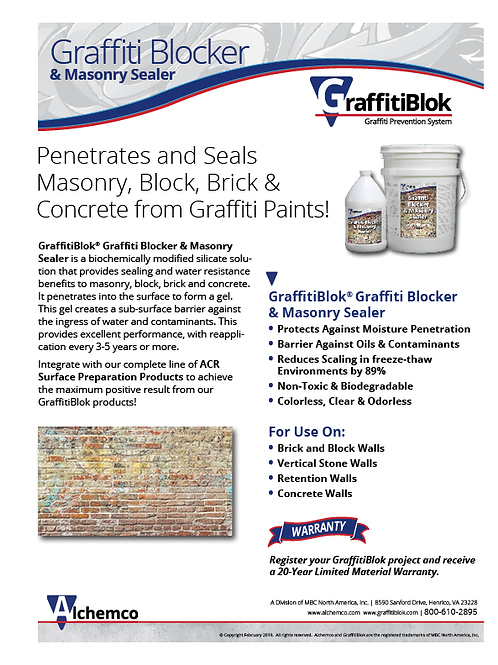 Masonry Graffiti Blocker Sell Sheet (QTY: 50)