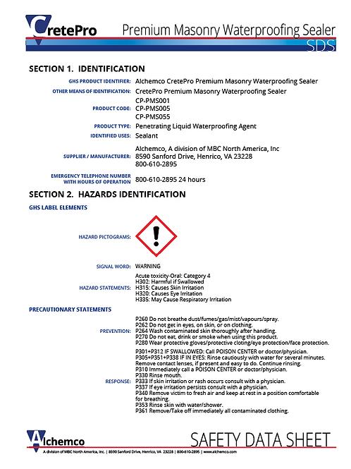 Ultra Masonry Sealer Safety Data Sheet (QTY: 10)