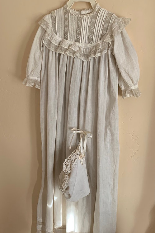 Antique christening dress with bonnet