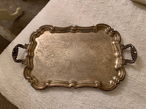 """Antique silverplate serving tray, 23"""" x 13"""""""