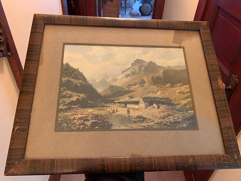 "Framed print, sheep by stream, mountains, 16"" x 12-1/2"""