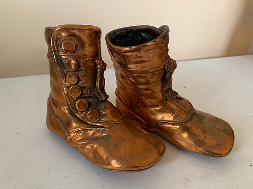 Bronzed baby shoes, tall, one pair