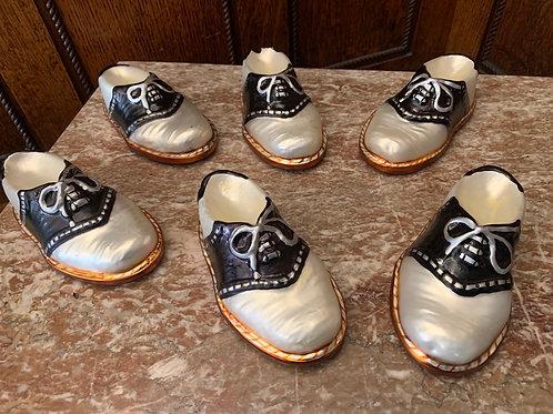 """Six saddle shoe ornament, 6"""", one with damage"""