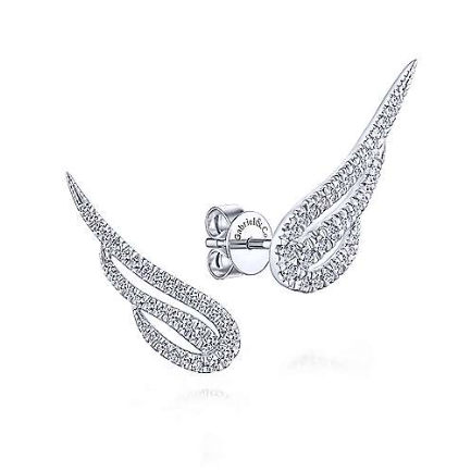 White Gold and Diamond Angel Wing Earrings