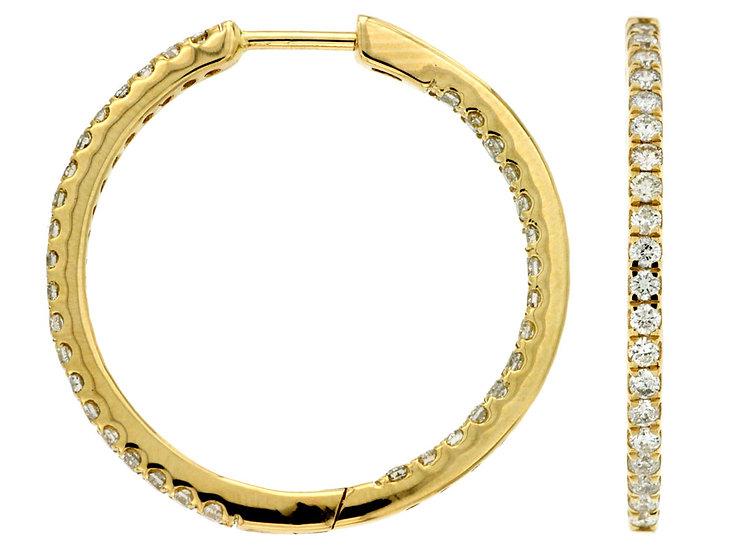 14k Yellow Gold Diamond Circle Earrings