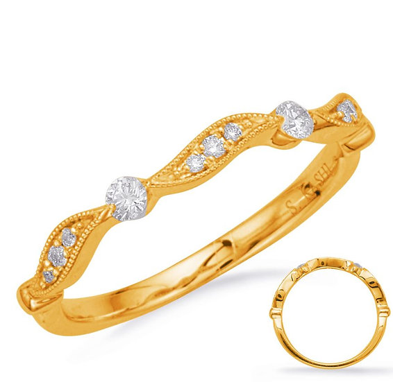 14k Yellow Gold Diamond Stacker Band