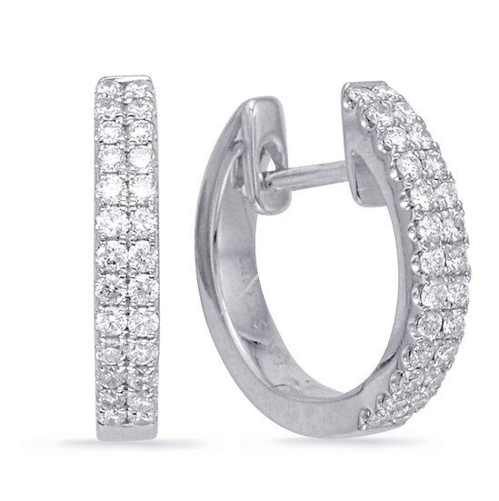 14K White Gold Diamond Huggie Earrings