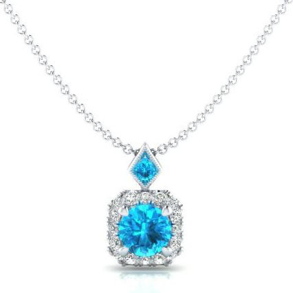 14K White Gold and Blue Topaz Diamond Necklace