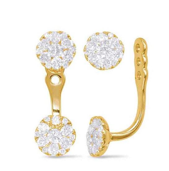 14K Yellow Gold Diamond Earrrings