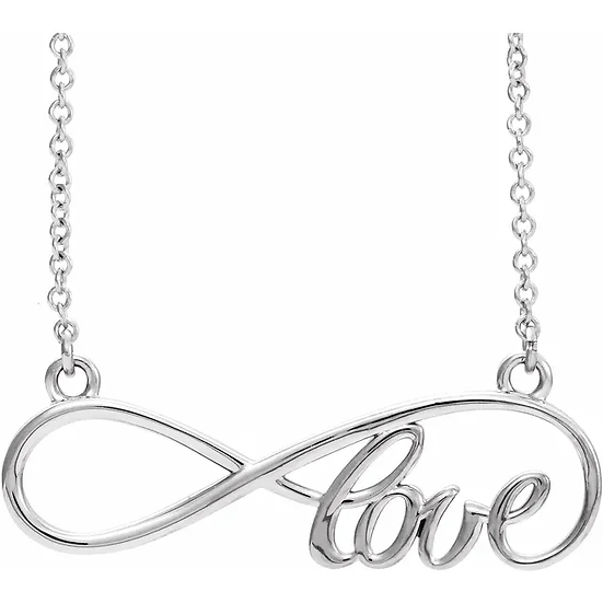 Sterling Silver Infinity-Inspired Love Necklace