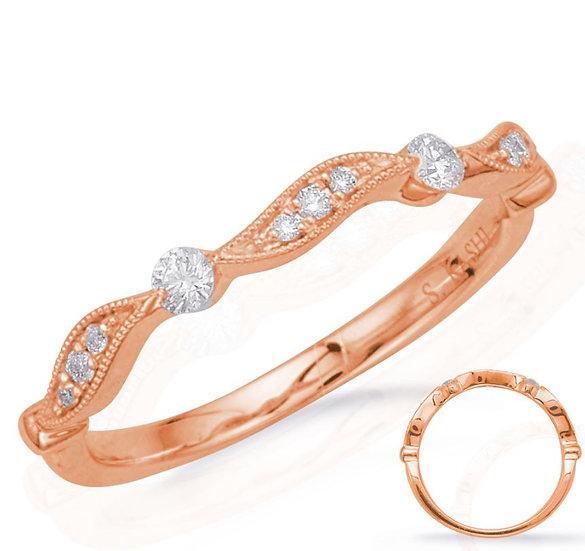 14k Rose Gold Diamond Stacker Band