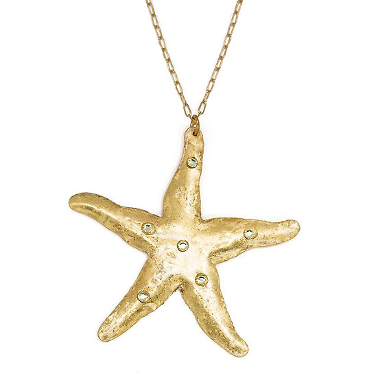 22K Yellow Gold Overlay Starfish Necklace