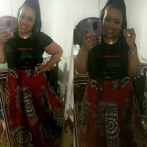 Red Multi-Color Skirt