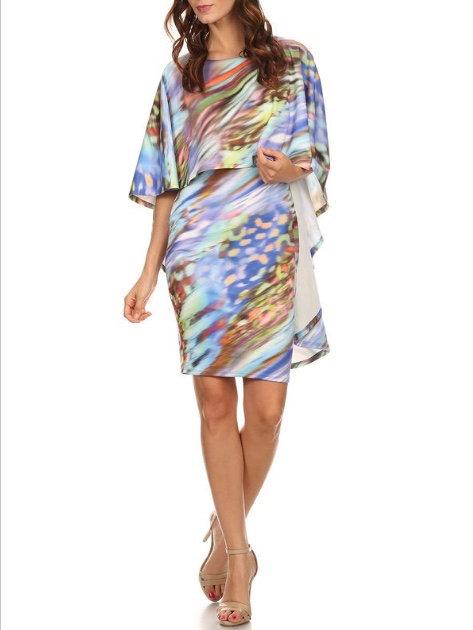 Bella Cape Dress - Multicolor