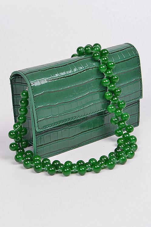 Green Crocodile Clutch
