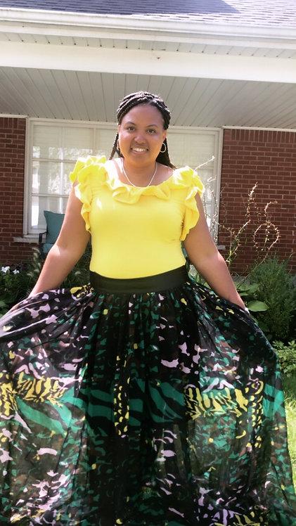 Green High-Waist Skirt