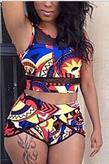 Patch work 2 piece swimsuits